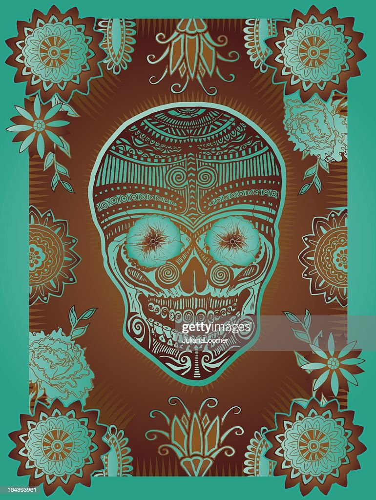 Dia de los Muertos skull in brown and turquoise
