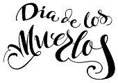 Dia de los muertos translation from Spanish. Day of the Dead. Lettering text for greeting card