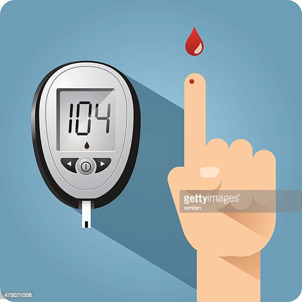 diabetes blood glucose meter and finger prick - meter instrument of measurement stock illustrations