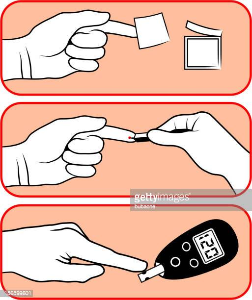 diabetes blood sugar test with human hands - diabetic retinopathy stock illustrations
