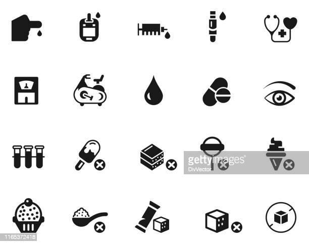 diabetes icon set - diabetes stock illustrations