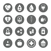 diabetes icons set