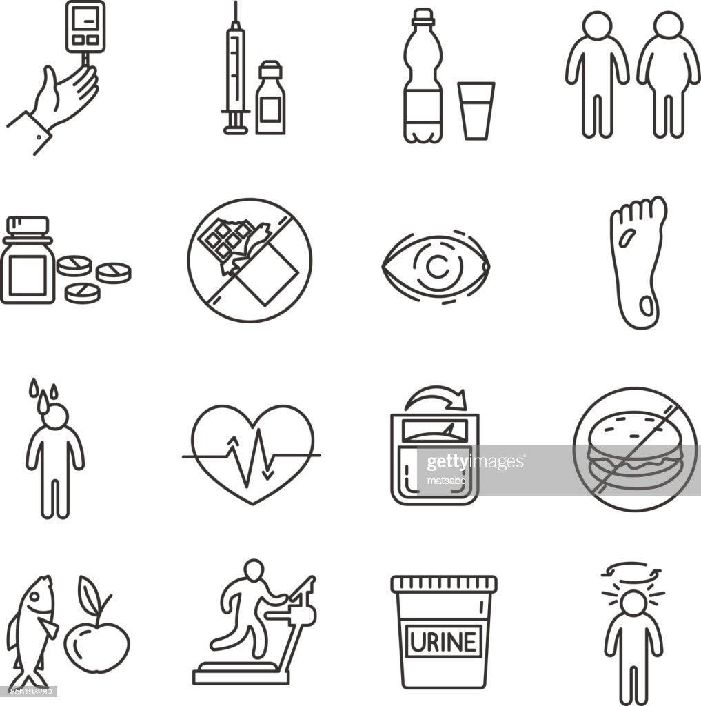 diabetes icons set.