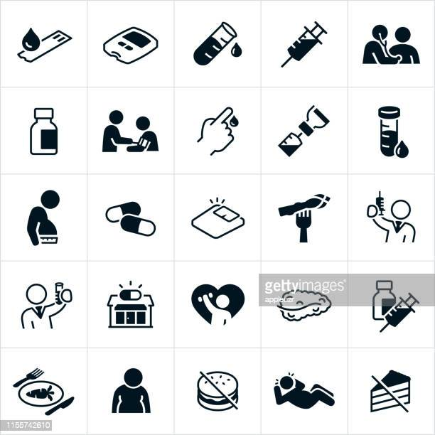 diabetes icons - injecting stock illustrations