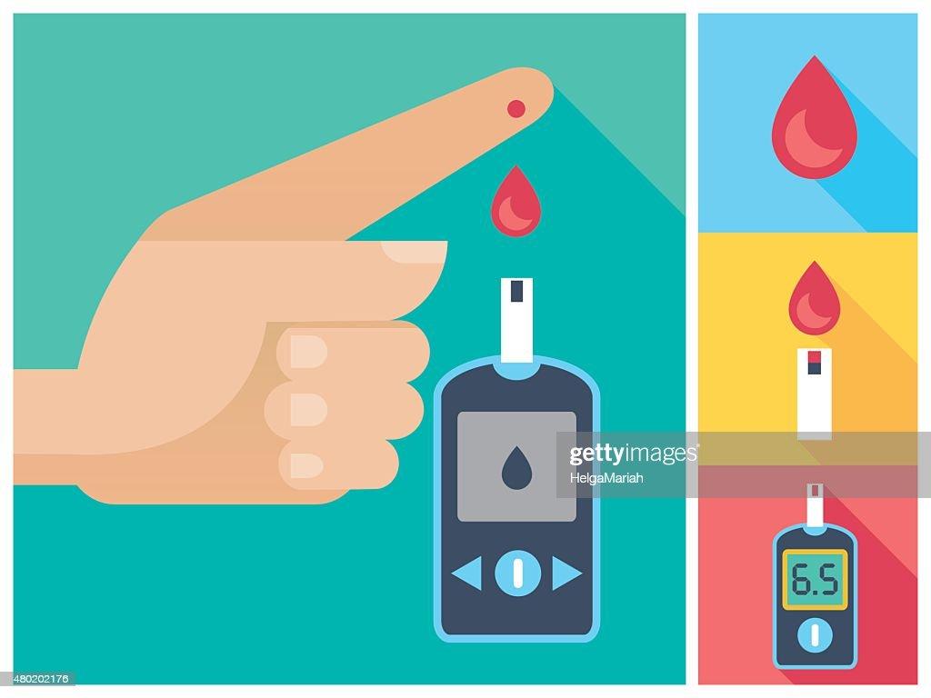 Diabetes Mellitus Icon Set Human Hand Blood To Glucose Meter
