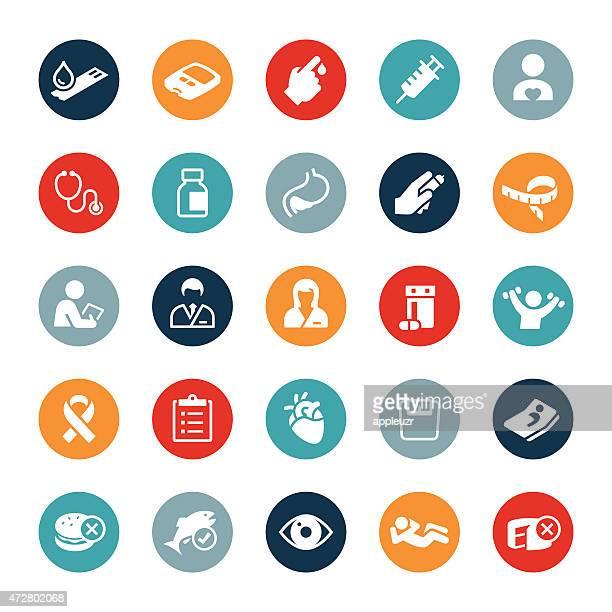 ilustraciones, imágenes clip art, dibujos animados e iconos de stock de iconos de diabetes mellitus - diabetes