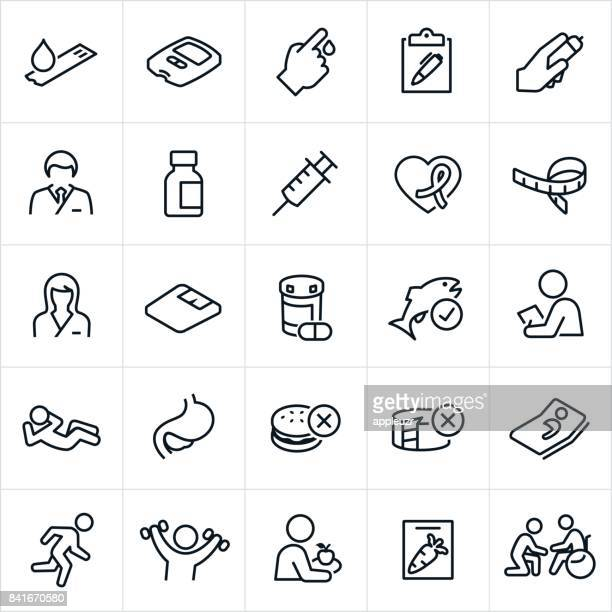 diabetes mellitus icons - blood test stock illustrations, clip art, cartoons, & icons