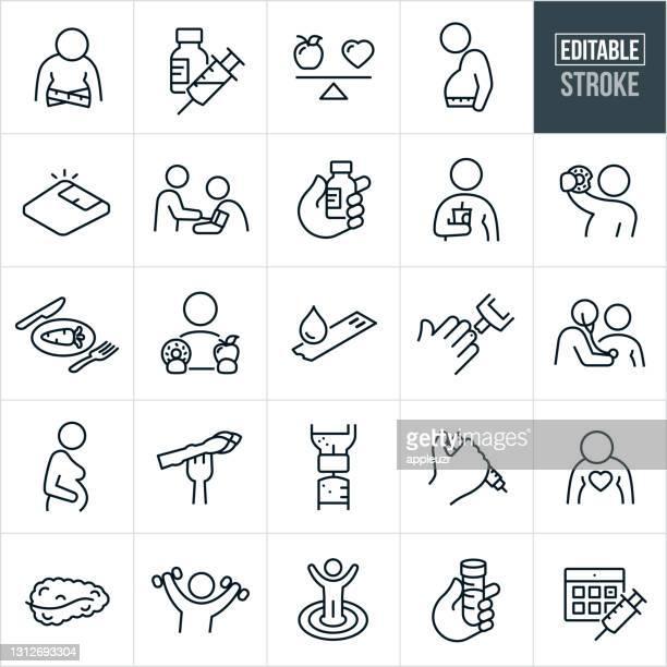 diabetes thin line icons - editable stroke - diabetes stock illustrations