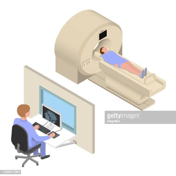 mri diagnosis isometric vector illustration - brain tumour stock illustrations