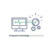Diagnostic system, engine test, software integration, data processing line icon