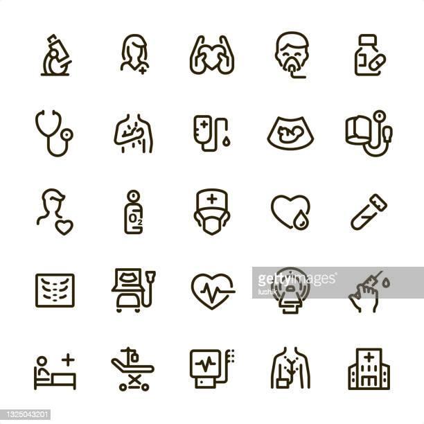 診断と心臓病 - ピクセルパーフェクトラインアイコン - mri装置点のイラスト素材/クリップアート素材/マンガ素材/アイコン素材