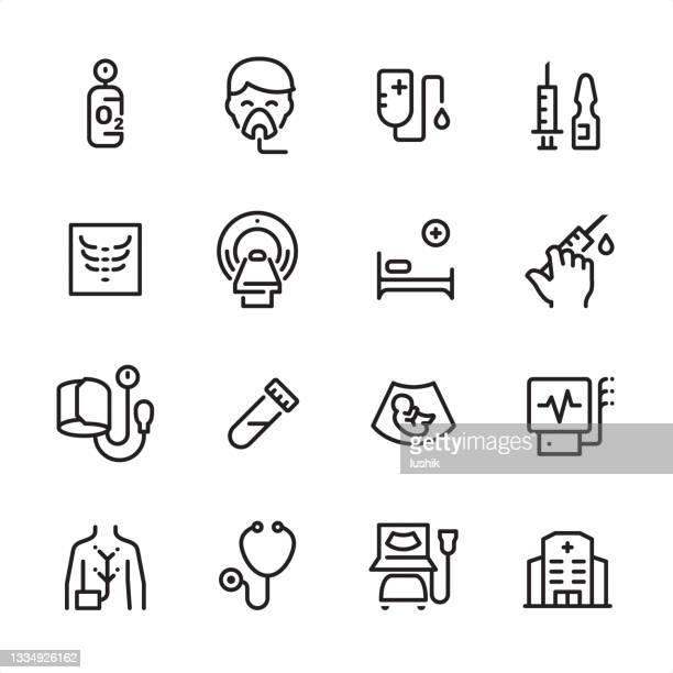 diagnostics - outline icon set - critical care stock illustrations