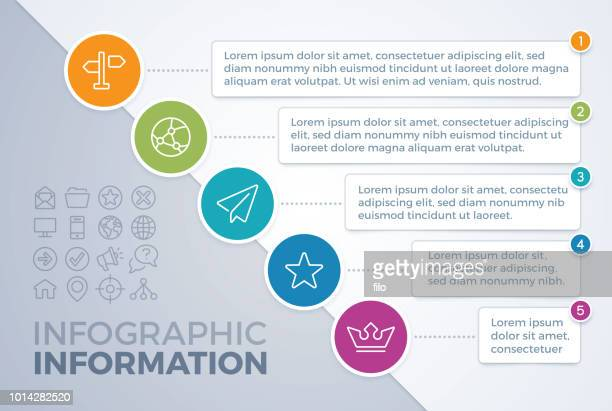 diagonal five item infographic - organisation stock illustrations