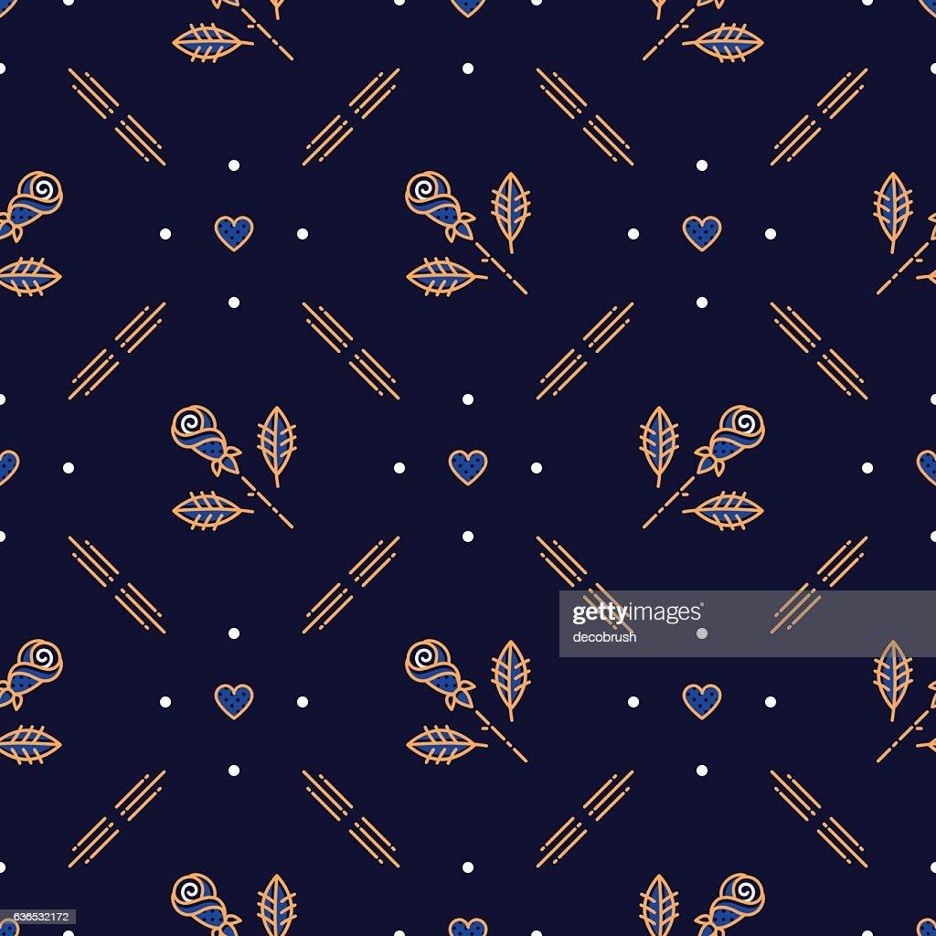 Diagonal seamless pattern, minimal floral ornament, Scandinavian Art Deco style