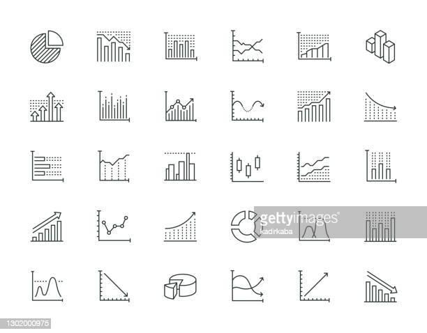 illustrations, cliparts, dessins animés et icônes de diagramme et graphe série de lignes minces - courbe