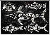diagram cut carcasses salmon, swordfish, herring, tuna