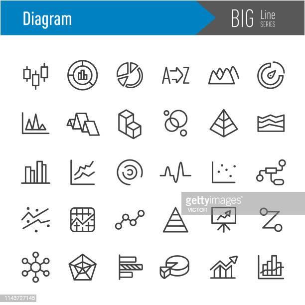 illustrazioni stock, clip art, cartoni animati e icone di tendenza di icone diagramma - serie big line - rapporto finanziario