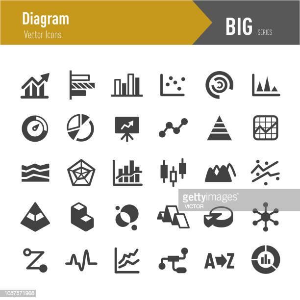 diagramm-icons - serie big - liniendiagramm stock-grafiken, -clipart, -cartoons und -symbole