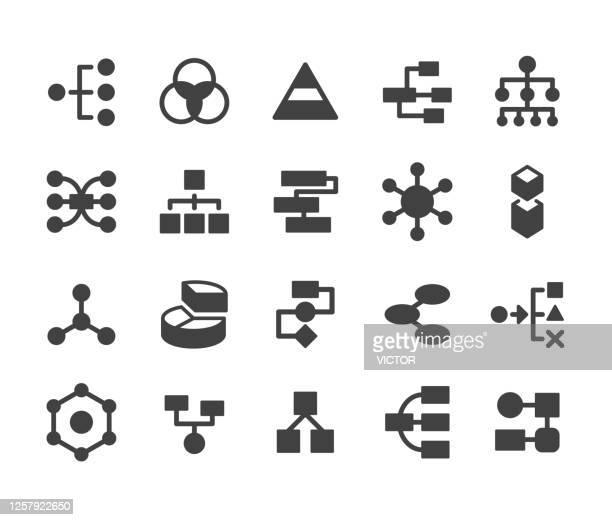 stockillustraties, clipart, cartoons en iconen met diagrampictogrammen - klassieke reeks - hiërarchie