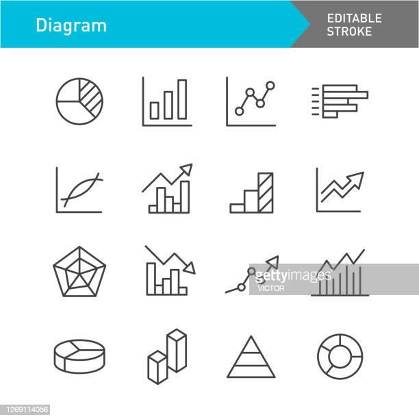 ilustraciones, imágenes clip art, dibujos animados e iconos de stock de iconos de diagrama - serie de líneas - trazo editable - gráfico de barras