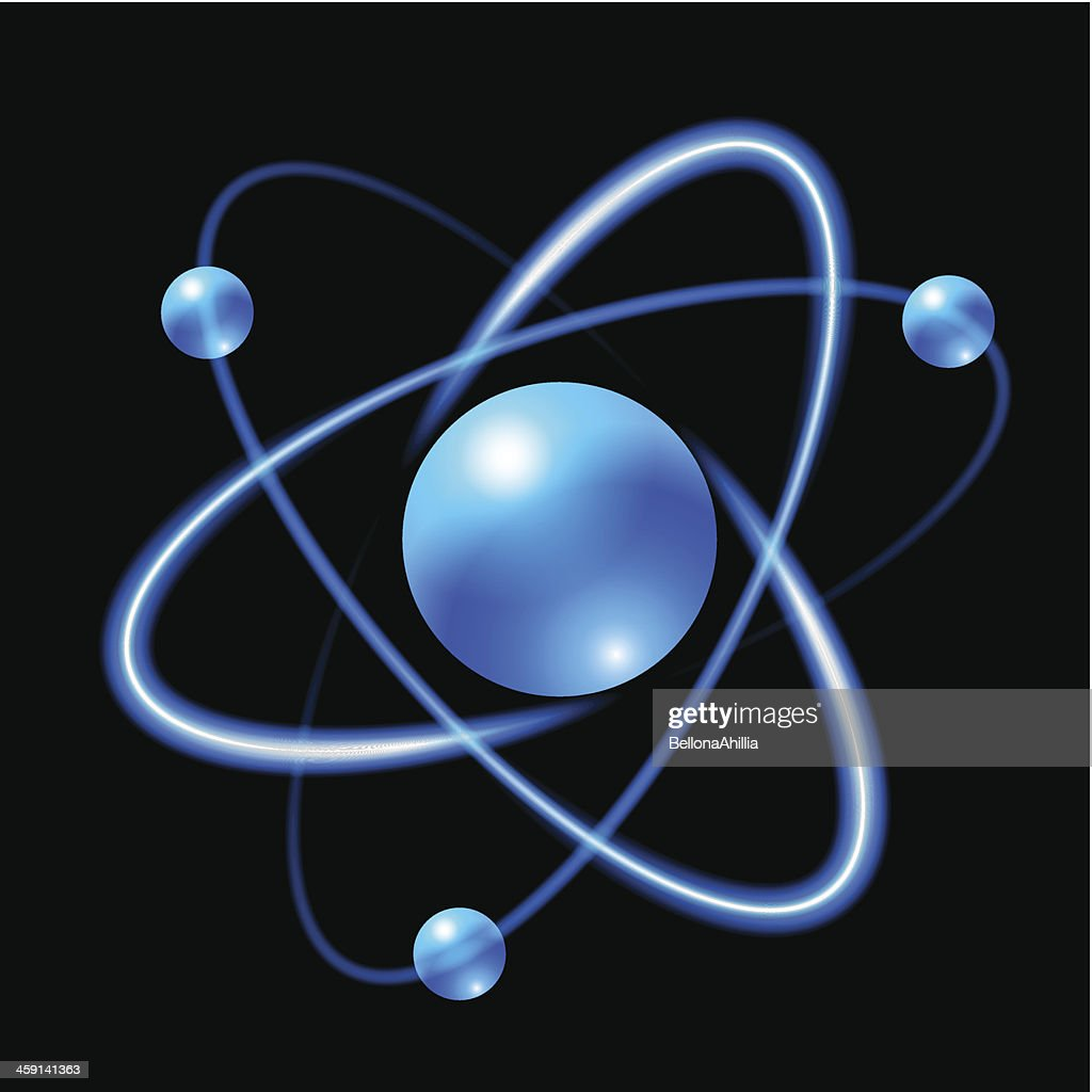 A diagram of a blue atom with black background