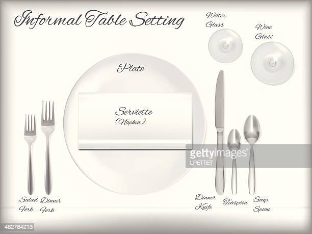 Diagram Of A Informal Table Setting - Vector