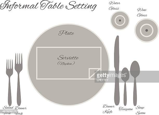 diagram of a informal table setting - vector - social grace stock illustrations, clip art, cartoons, & icons