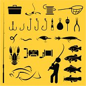 Diagram of yellow and black fishing icons