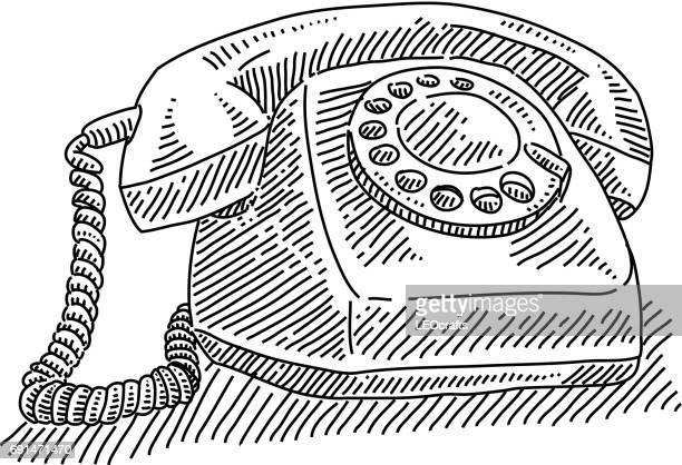 ilustraciones, imágenes clip art, dibujos animados e iconos de stock de marque el teléfono dibujo - telefono fijo