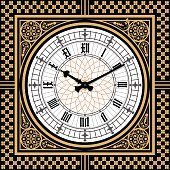 Dial Victorian clock in the style of Big Ben. Vector
