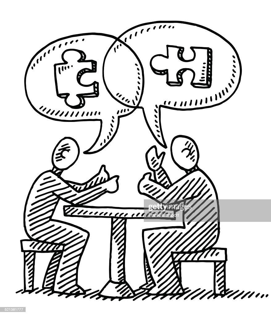Dialogue Speech Bubble Jigsaw Piece Drawing Vector Art ...
