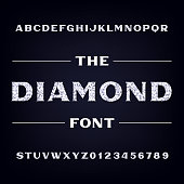 Diamond alphabet font. Brilliant letters and numbers. Stock vector typeface.