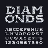 Diamond alphabet font. Luxury beveled serif letters and numbers.