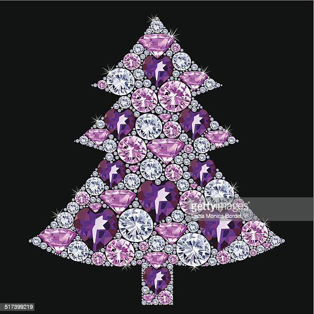 Purple And Silver Christmas Trees.11 Purple And Silver Christmas Tree Stock Illustrations