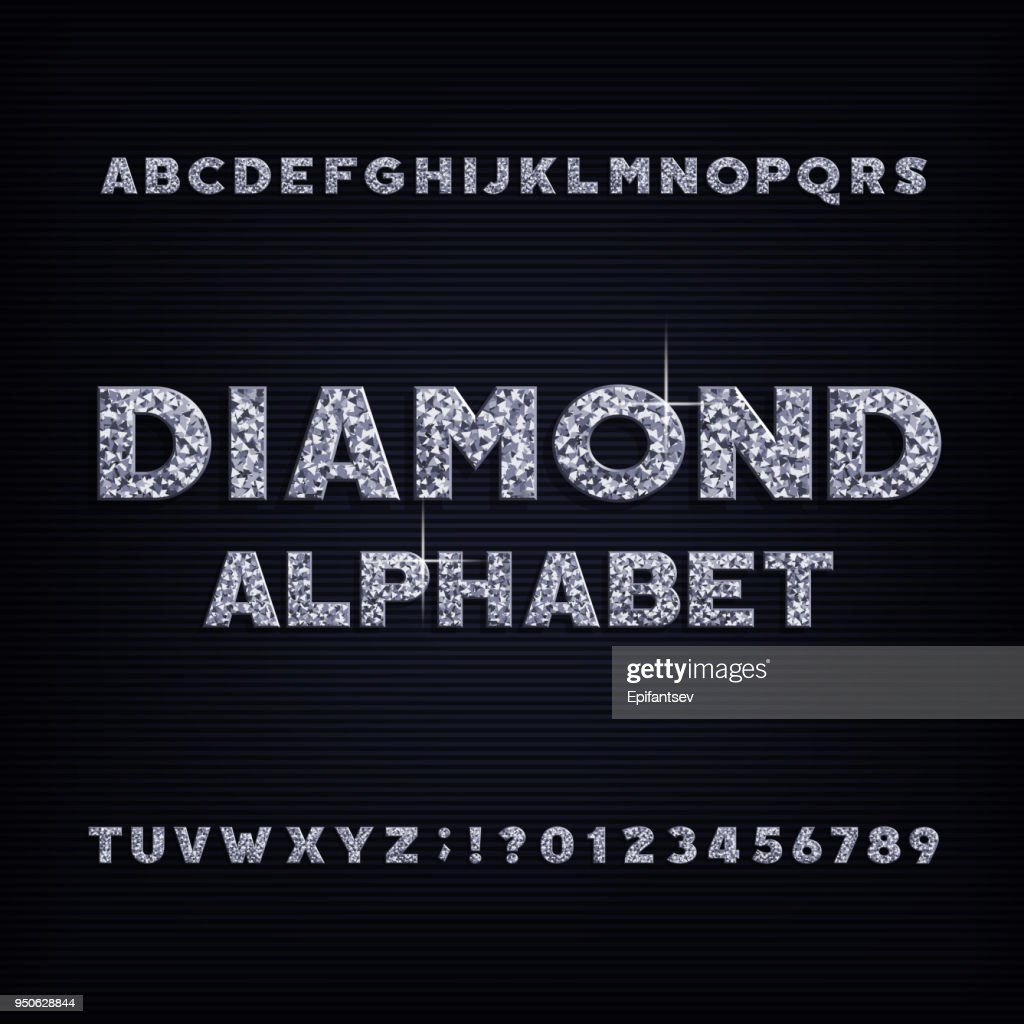 Diamond crystal alphabet bold font. Luxury jewelry letters and numbers.