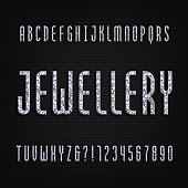Diamond crystal alphabet font. Luxury jewelry letters and numbers.