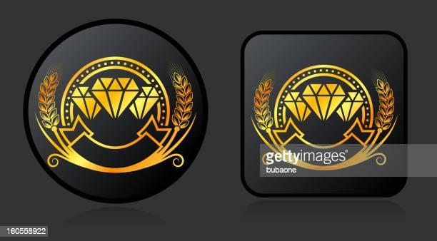 ilustrações, clipart, desenhos animados e ícones de diamond crachá de endosso botões em fundo preto - great seal