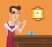 Diamond expert. Vector flat cartoon illustration