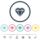 Diamond flat color icons in round outlines