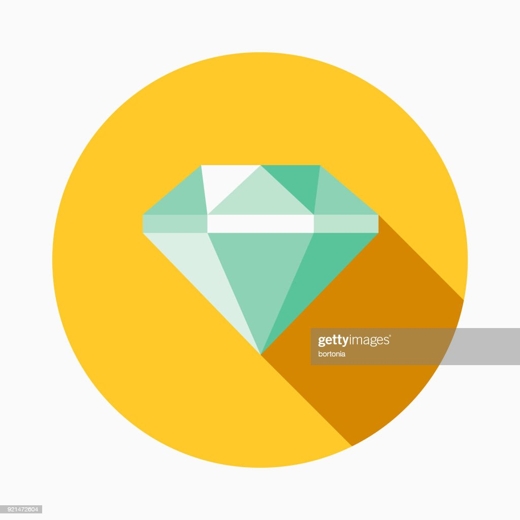 Diamond Flat Design Casino Icon with Side Shadow
