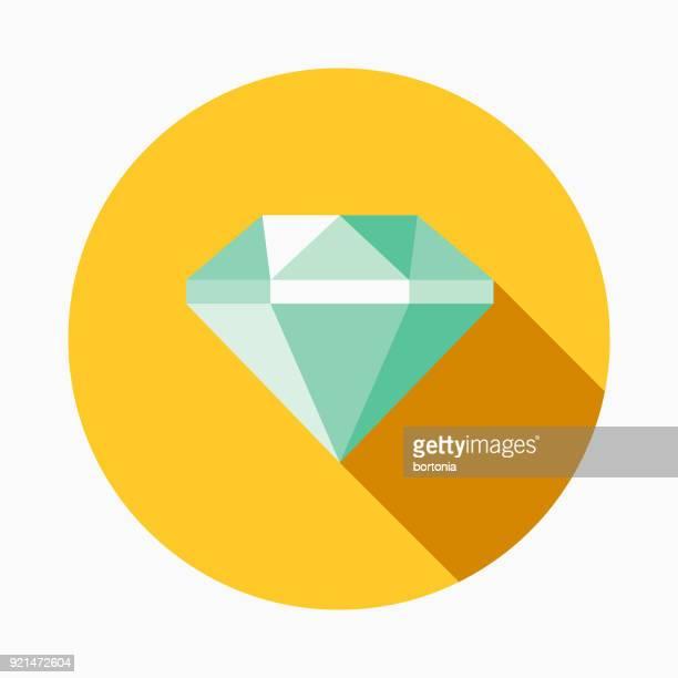 Diamant Flat Design Casino Symbol mit Seite Schatten