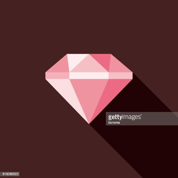 diamond flat design valentine's day romance icon - diamond shapes stock illustrations, clip art, cartoons, & icons