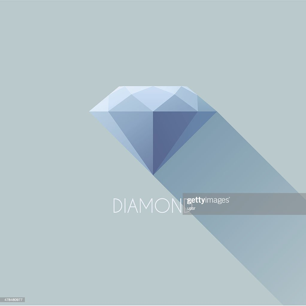 Diamond. Flat vector icon with long shadow