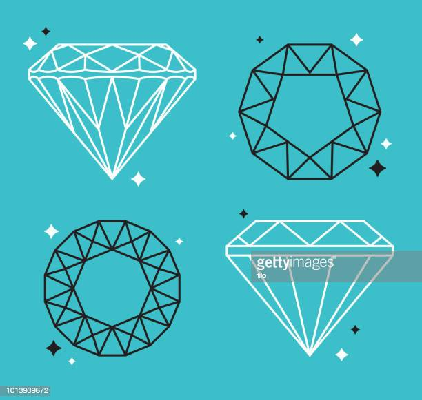 stockillustraties, clipart, cartoons en iconen met diamant gem lijntekeningen - diamant