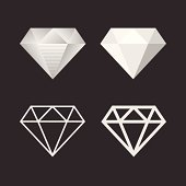 Diamond Icon And Emblem Set. Vector