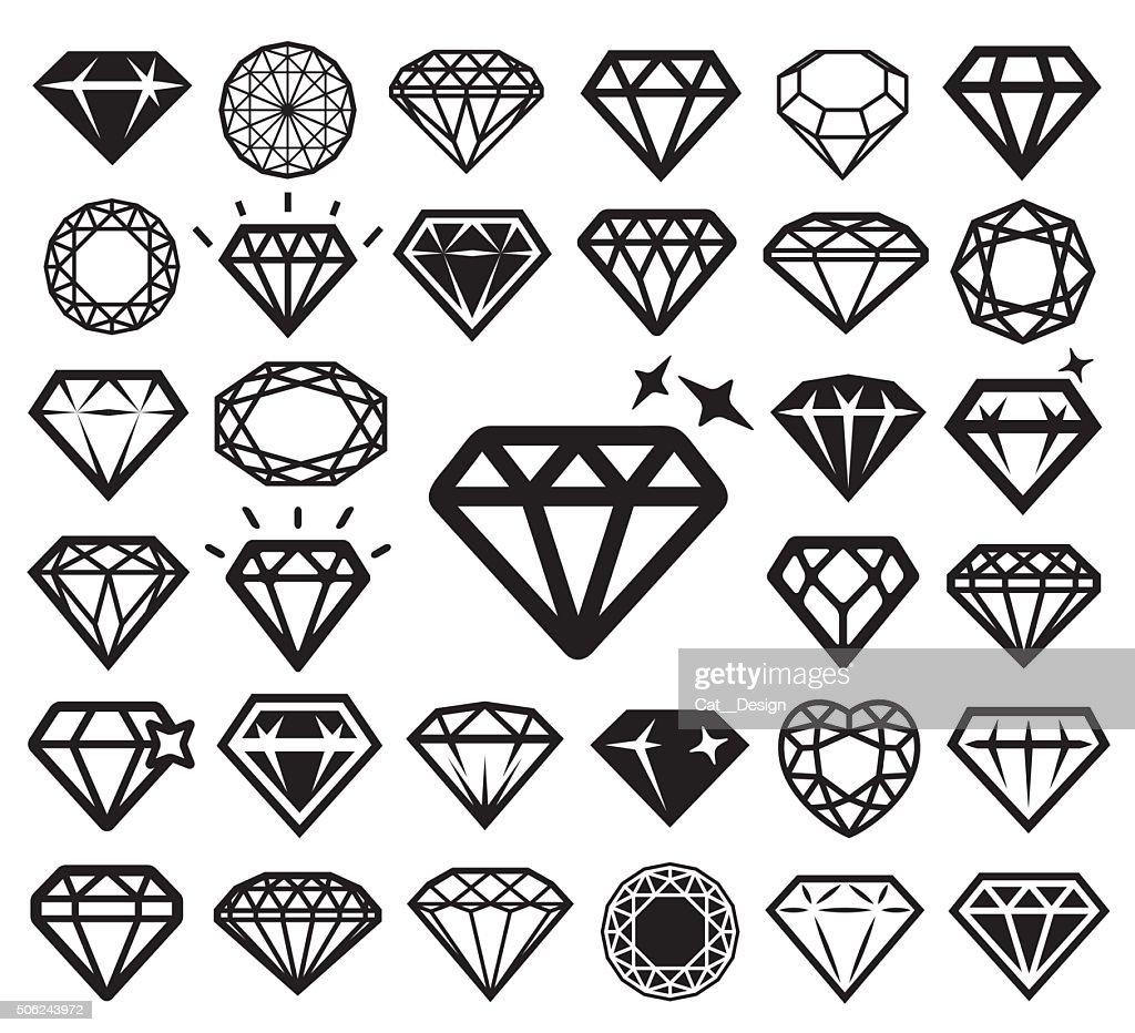 Diamond icons set. Vector illustration.