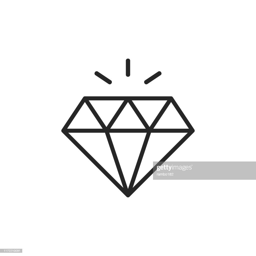 Diamond Line Icon. Editable Stroke. Pixel Perfect. For Mobile and Web. : Stock Illustration