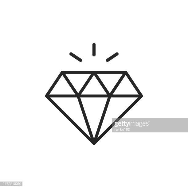 diamond line icon. editable stroke. pixel perfect. for mobile and web. - luxury stock illustrations