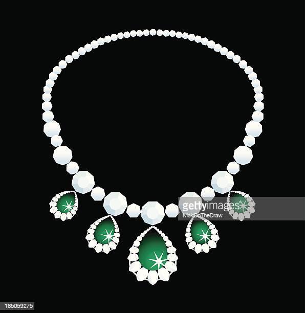 stockillustraties, clipart, cartoons en iconen met diamond necklace - halsketting
