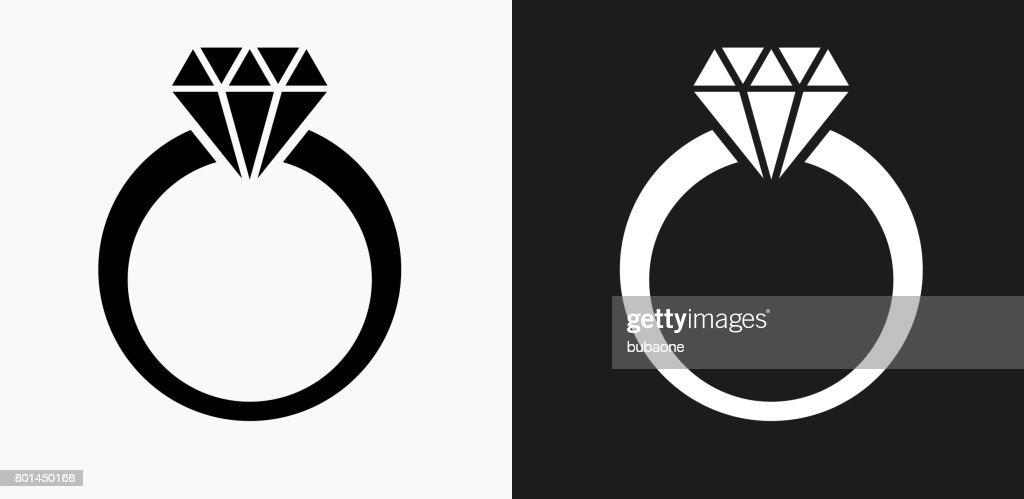 diamond ring icon on black and white vector backgrounds